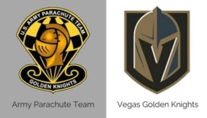 Army Parachute logo and Vegas Golden Knights logo.