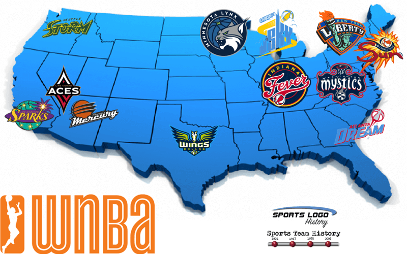 WNBA Teams Map 2018 - 800 x 500
